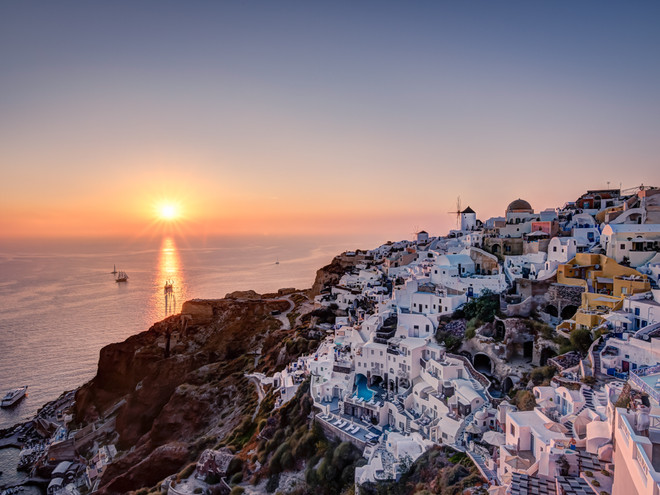 Sunset over Oia, Greece