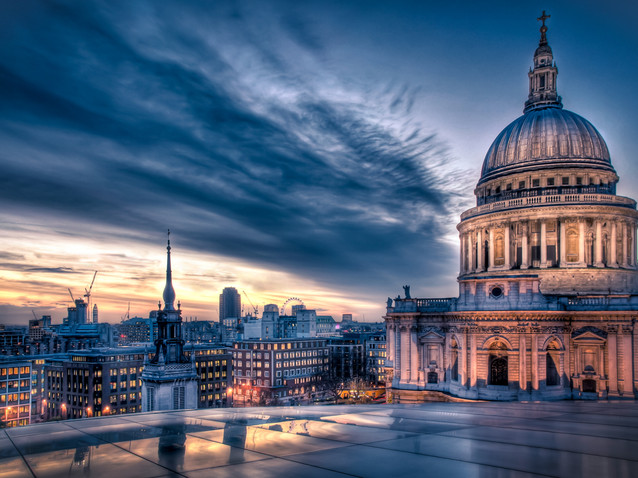 Sunset over St Paul's Cathedral