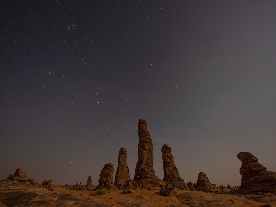 Silhouettes at Algarameel, Saudi Arabia