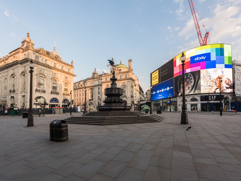 Statue of Eros, Piccadilly Circus, during Lockdown