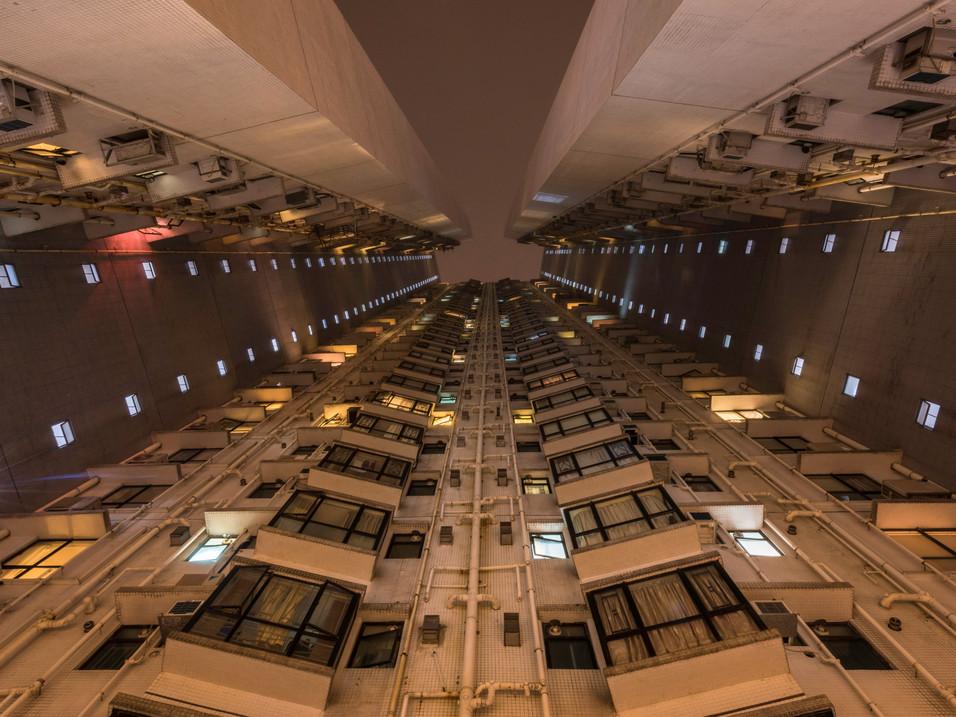 Looking up at a Hong Kong tower block