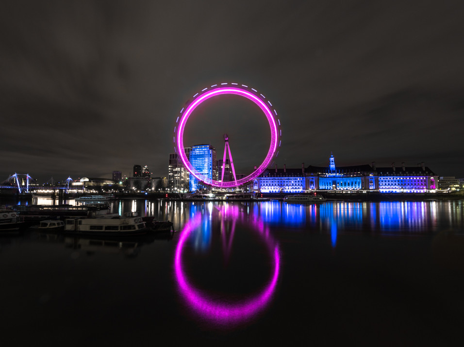 Night time reflections of the London Eye