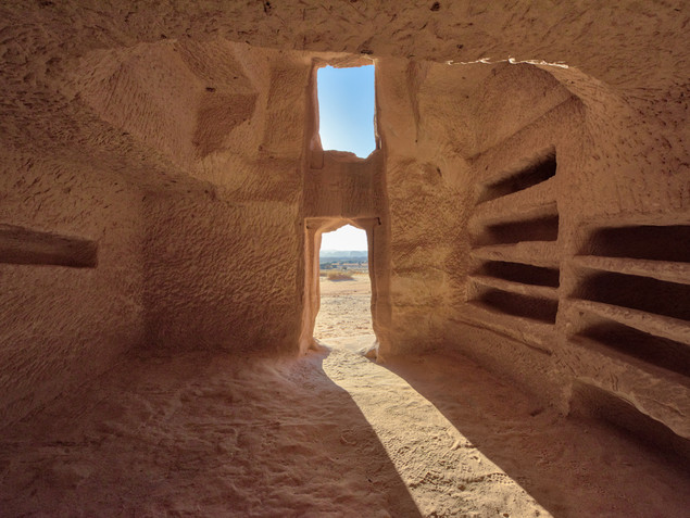 The inside of a sandstone tomb in Hegra, AlUla