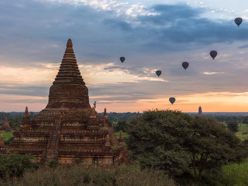 Watching the sunrise in Bagan, Myanmar
