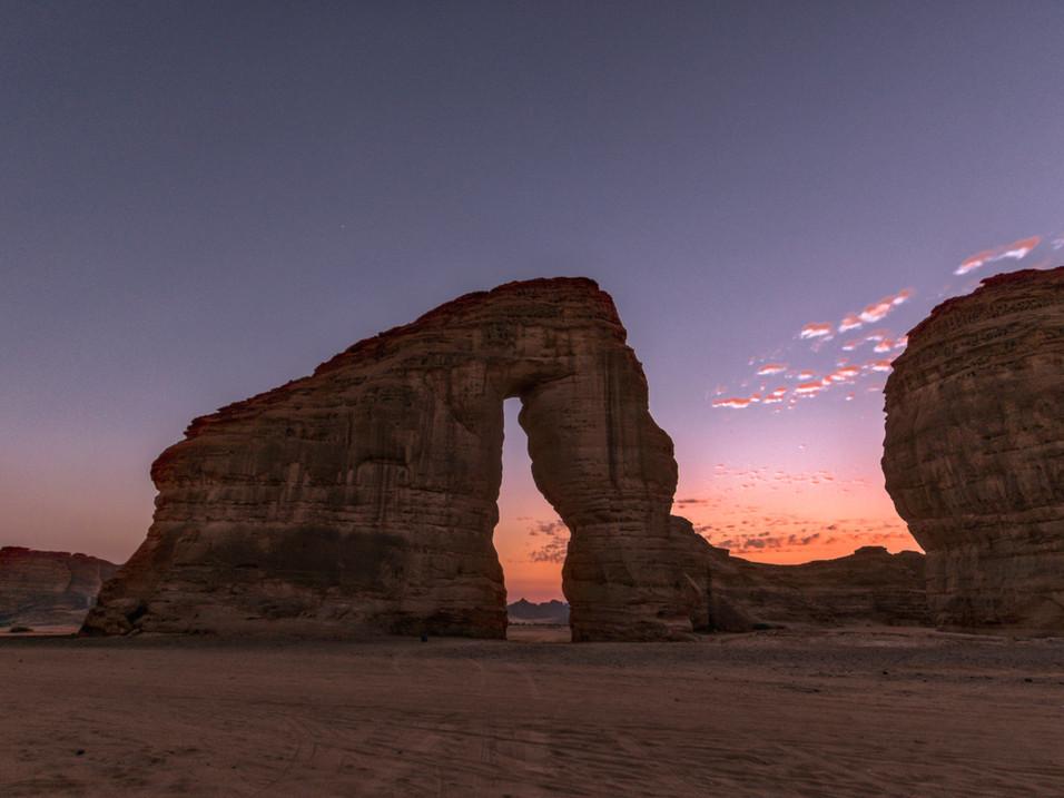Elephant Rock at dusk, Saudi Arabia