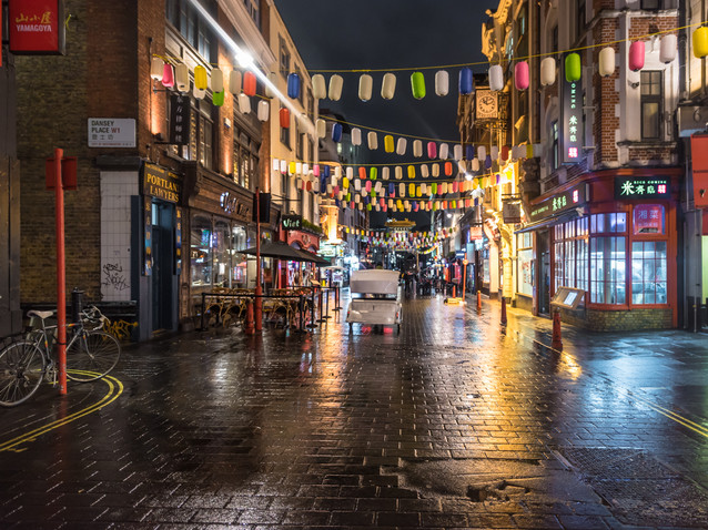 Rainy reflections in Chinatown, London