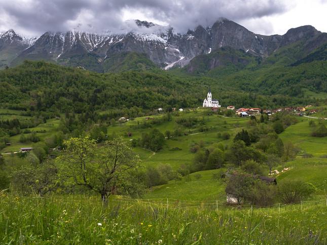 A mountain village in Slovenia.