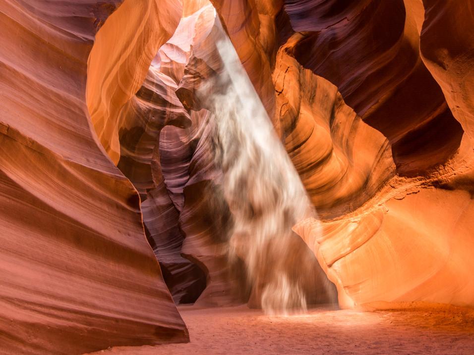 Antelope Canyon lluminated by sunlight