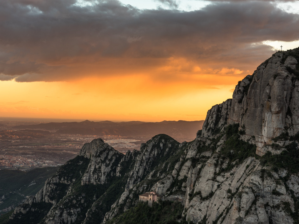Orange sunset over Montserrat