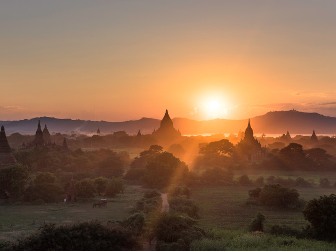 Watching the sun set behind a Bagan pagoda