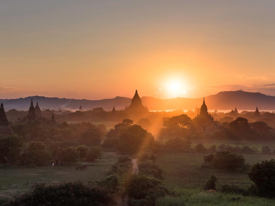 Watching the sun set behind a Bagan pagoda