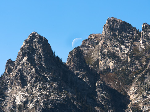 The moon rises in Yellowstone National P