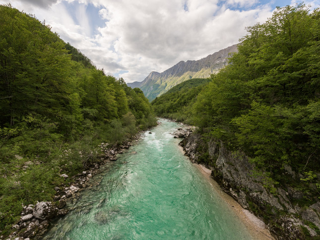 Turquoise waters of a Slovenian river