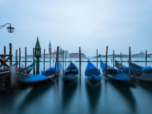 Waves moving gondolas, Venice