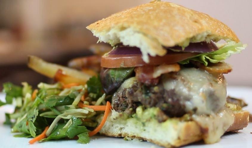 Pepper Pub Burger with Cilantro Slaw