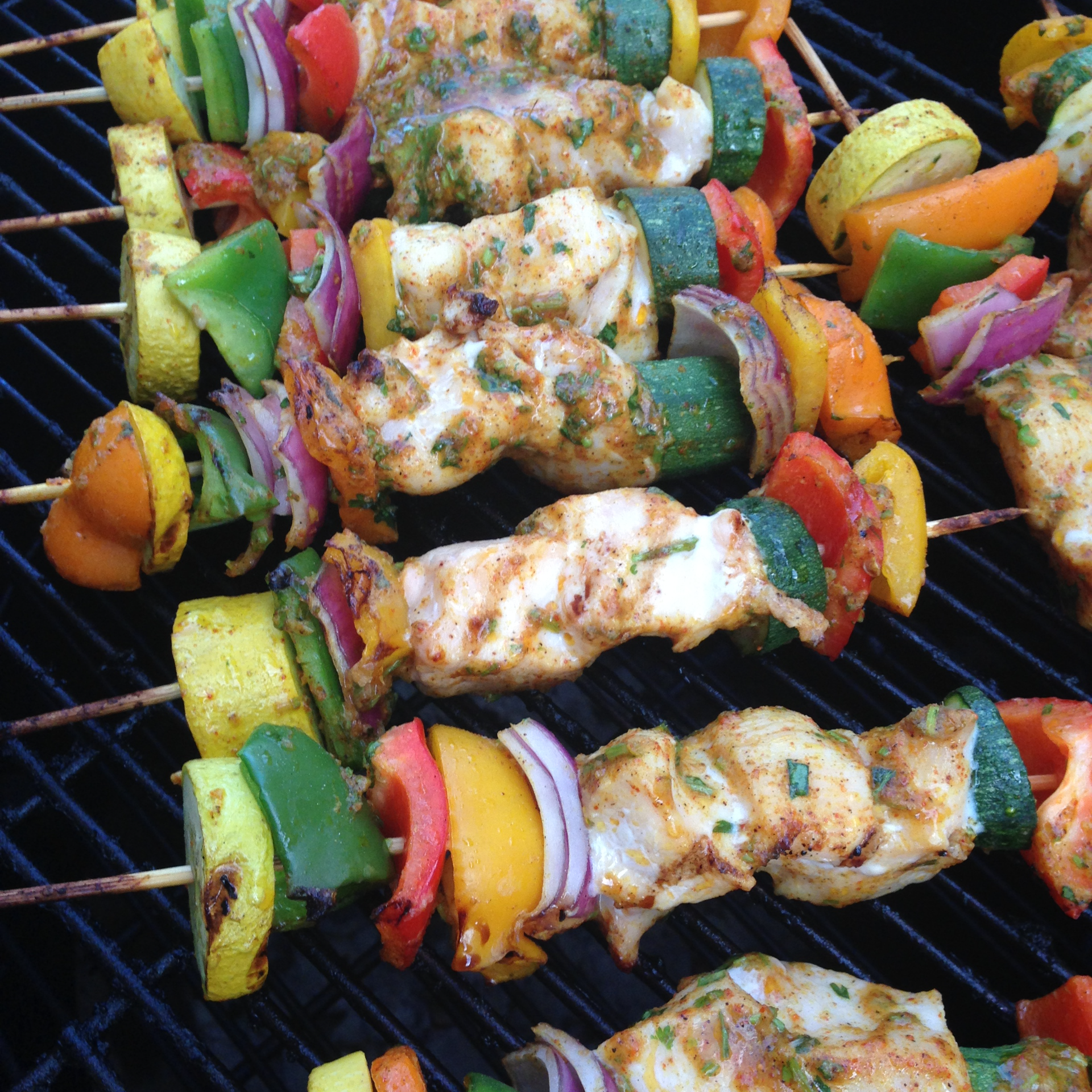 Smoked Cajun Curry Chicken Kabob