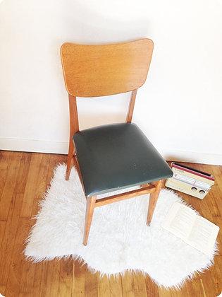 """Chaise en bois et cuir vert """"Portland"""""""