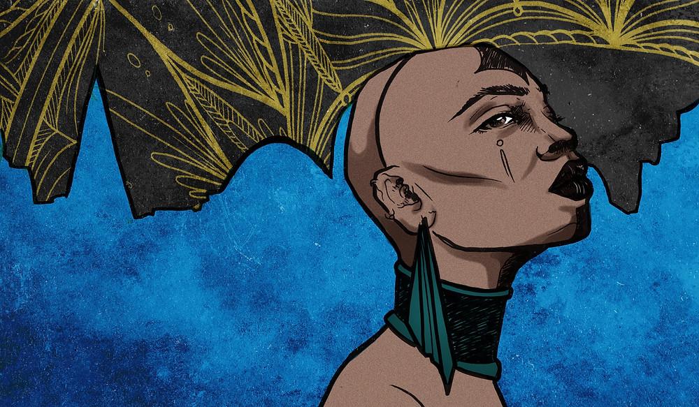 Uma mulher negra do pescoço para cima usando um tipo de cabelo estilizado na cor preta com amarelo. Ela usa um protetor de garganta verde e brincos verdes. O fundo é azulado.
