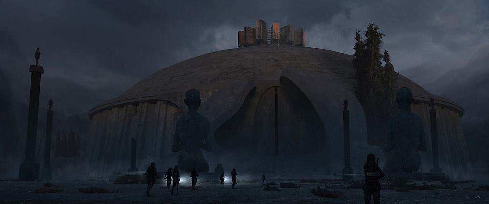 Cenário de uma cidade cinzenta fechada por um domo. Tem uma estátua grande no meio. Pessoas indefinidas estão passando pela rua seguindo em direção à entrada da cidade. Tem um guarda no canto inferior direito.