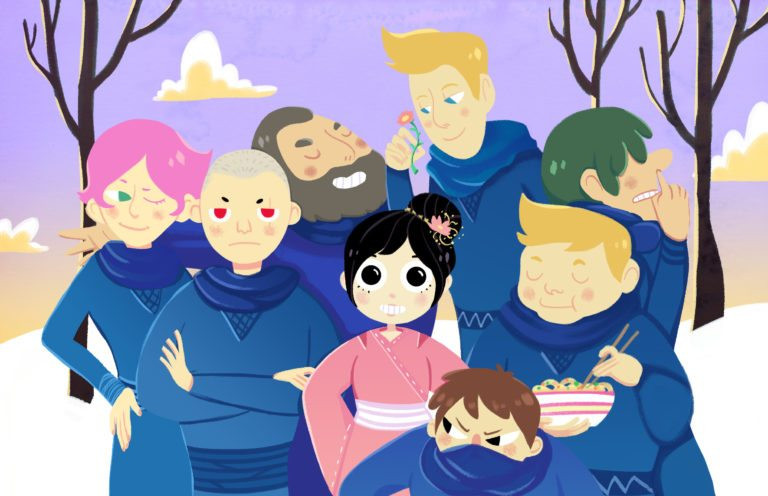 Filha da Neve e os Sete Ninjas com um fundo de floresta nevada