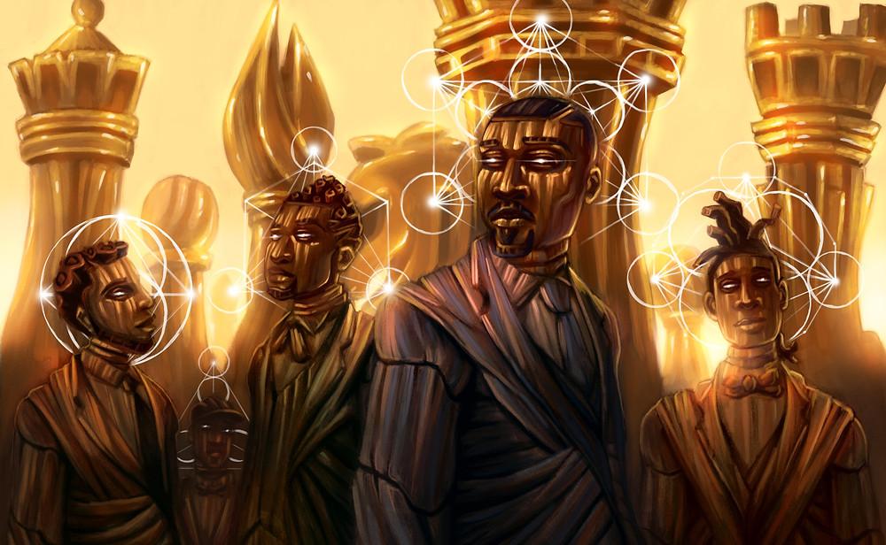 Quatro homens negros de terno em um fundo formado por peças de xadrez gigantes douradas. Toda a pintura possui uma textura amadeirada