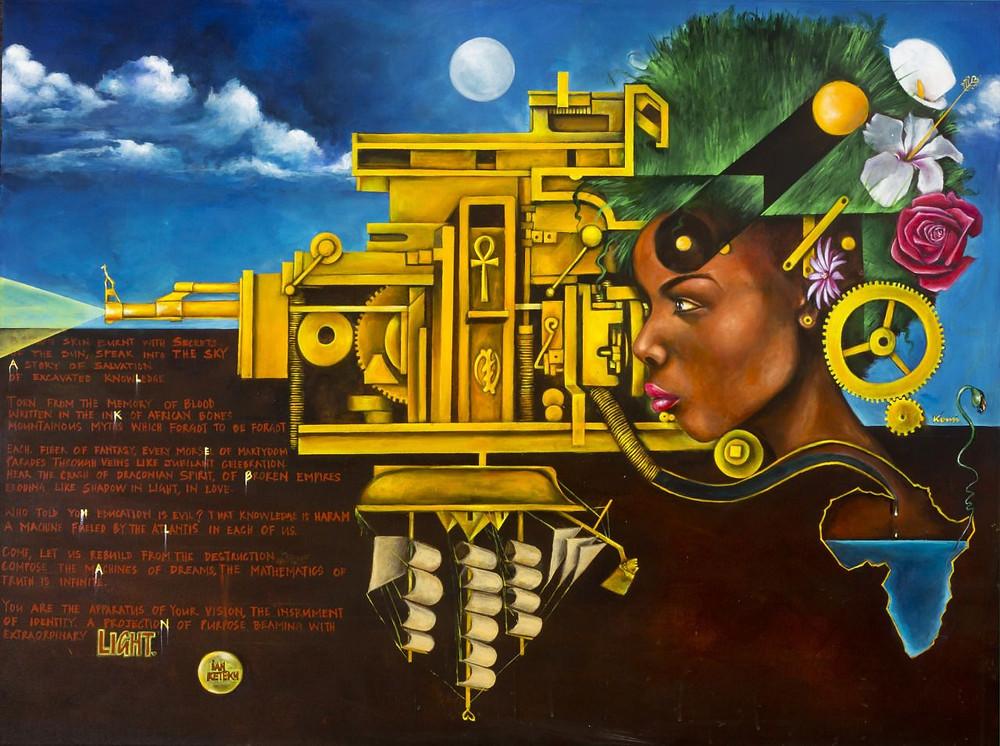 A imagem de uma espécie de templo egípcio dourado com vários elementos tecnológicos e uma caravela de ponta a cabeça. No canto direito tem uma cabeça de uma mulher africana de perfil com um black verde e um tipo de esteira que leva até o seu cérebro. Ela tem uma rosa colocada atrás da orelha. O fundo tem um céu azulado com nuvens e uma lua. Abaixo tem um fundo preto com linguagens de programação. A ponta do tempo tem um cano de arma apontando uma luz para fora da imagem.