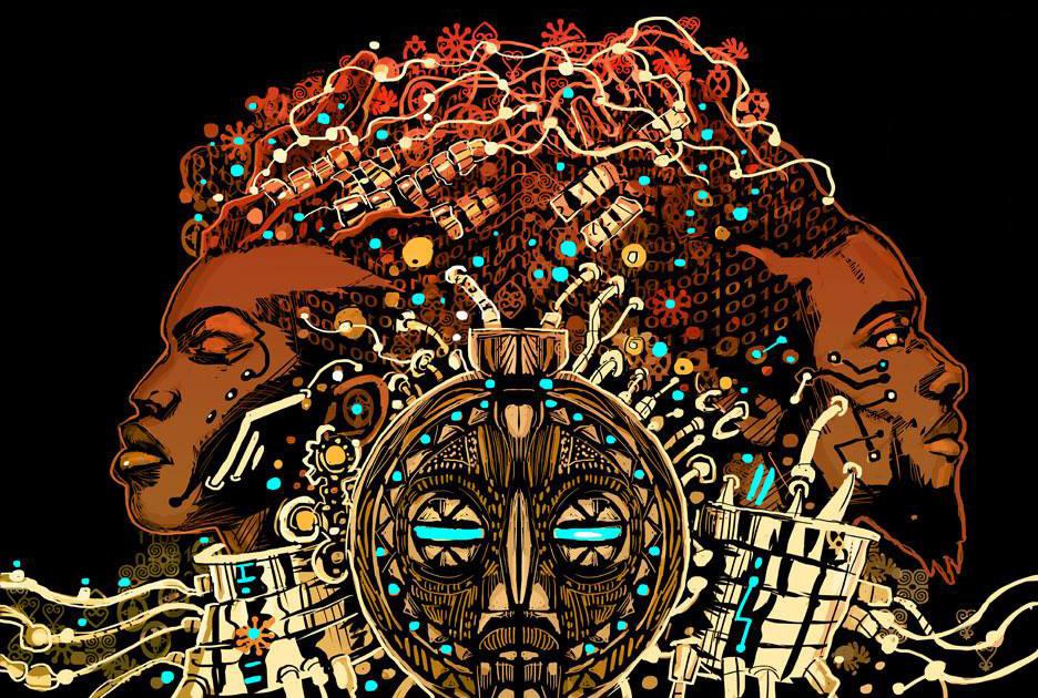 Uma imagem de uma máscara tribal negra no meio da imagem com dois rostos negros situados de perfil nos cantos esquerdo e direito da imagem. A máscara possui diversos elementos tecnológicos ao seu redor e o fundo é preto.