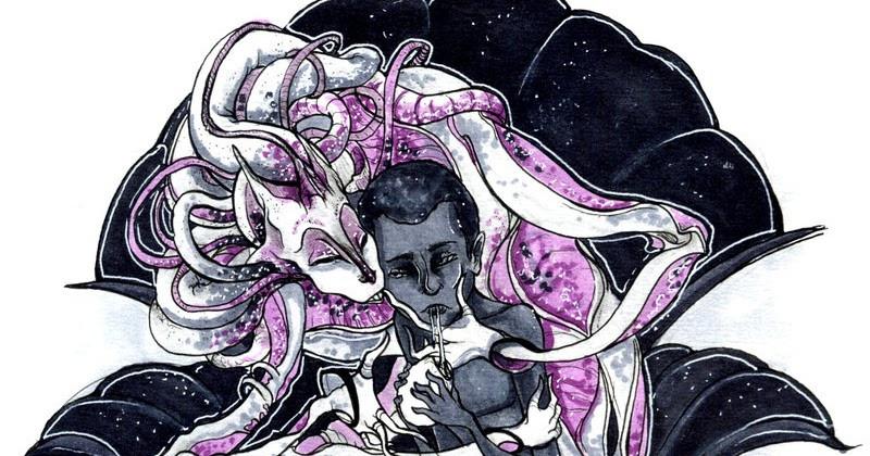 A imagem de uma mulher negra sendo envolvida por um alienígena que está colocando suas mãos longas em seu rosto. A mulher negra está com um ovo em suas mãos e parece estar sugando algum líquido dele.