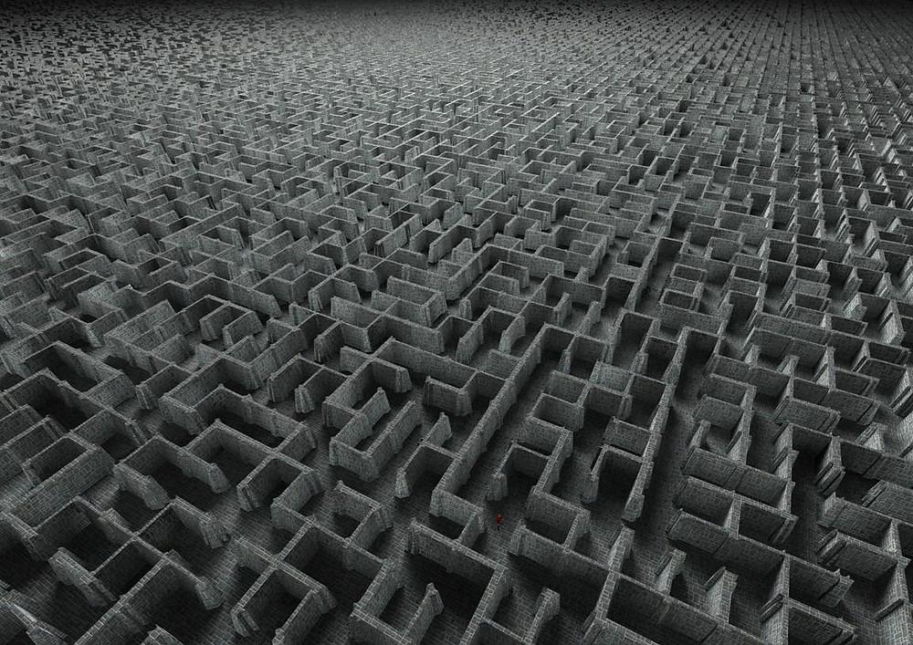 Imenso labirinto tridimensional na cor cinza