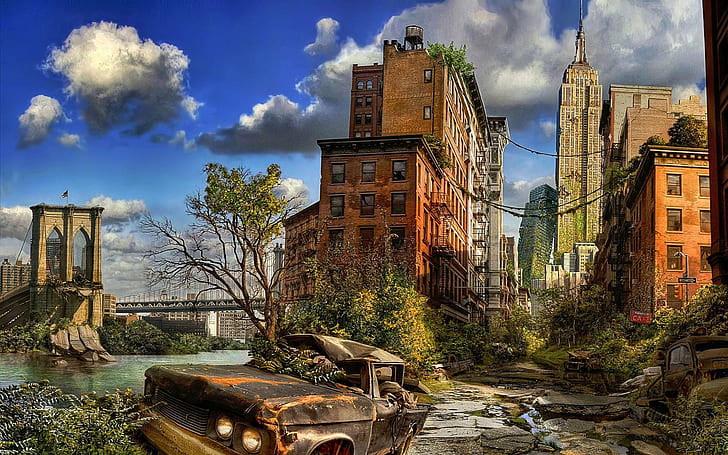 Cenário apocalíptico com uma rua destruída. Um carro velho e enferrujado no meio só com a metade dele destruída. Uma árvore meio desfolhada no centro. Uma rua seguindo em direção à direita da imagem com alguns edifícios altos. Uma ponte suspensa ao fundo. O céu azul no horizonte com algumas nuvens cinzas no céu. As ruas estão tomadas por musgos.