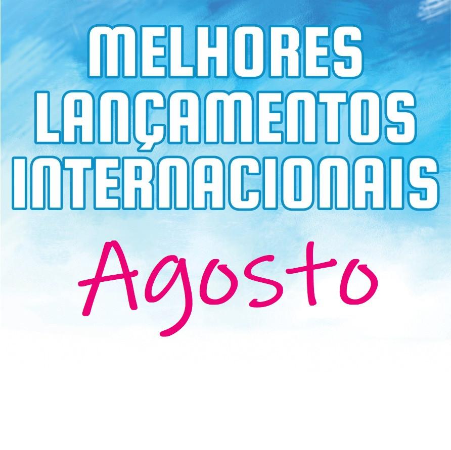 Logotipo Melhores Lançamentos Internacionais (letras em branco) do mês de agosto (letras em rosa) em um fundo azul e branco