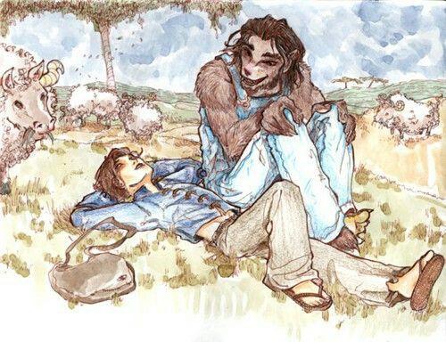 Lobo e Jack Sawyer sentados em uma campina. Lobo está usando um macacão jeans enquanto Jack está usando uma calça de linho marrom e uma camisa azul típica de camponês medieval. Ao fundo tem vários bois e carneiros. Uma alta árvore está ao fundo.