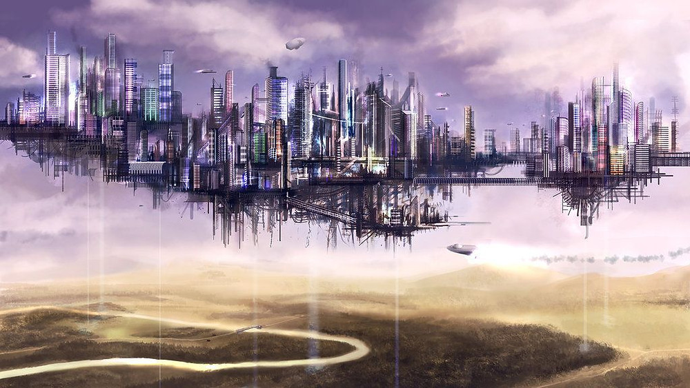 Uma cidade com vários prédios enormes flutuando sobre uma planície com um rio sinuoso passando por baixo.