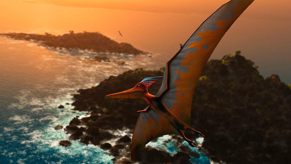 Um pterodáctilo nas cores laranja e azul voando no centro da imagem. Ao fundo temos duas ilhas com águas batendo na margem delas.
