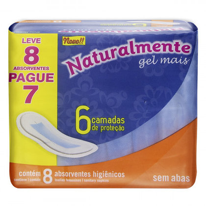Absorventes s/Abas - Naturalmente Gel Mais - Leve 8 Pague 7