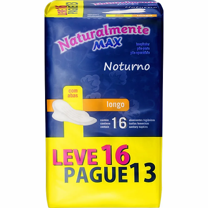 Absorventes c/Abas Max Noturno - Naturalmente - Leve 16 Pague 13