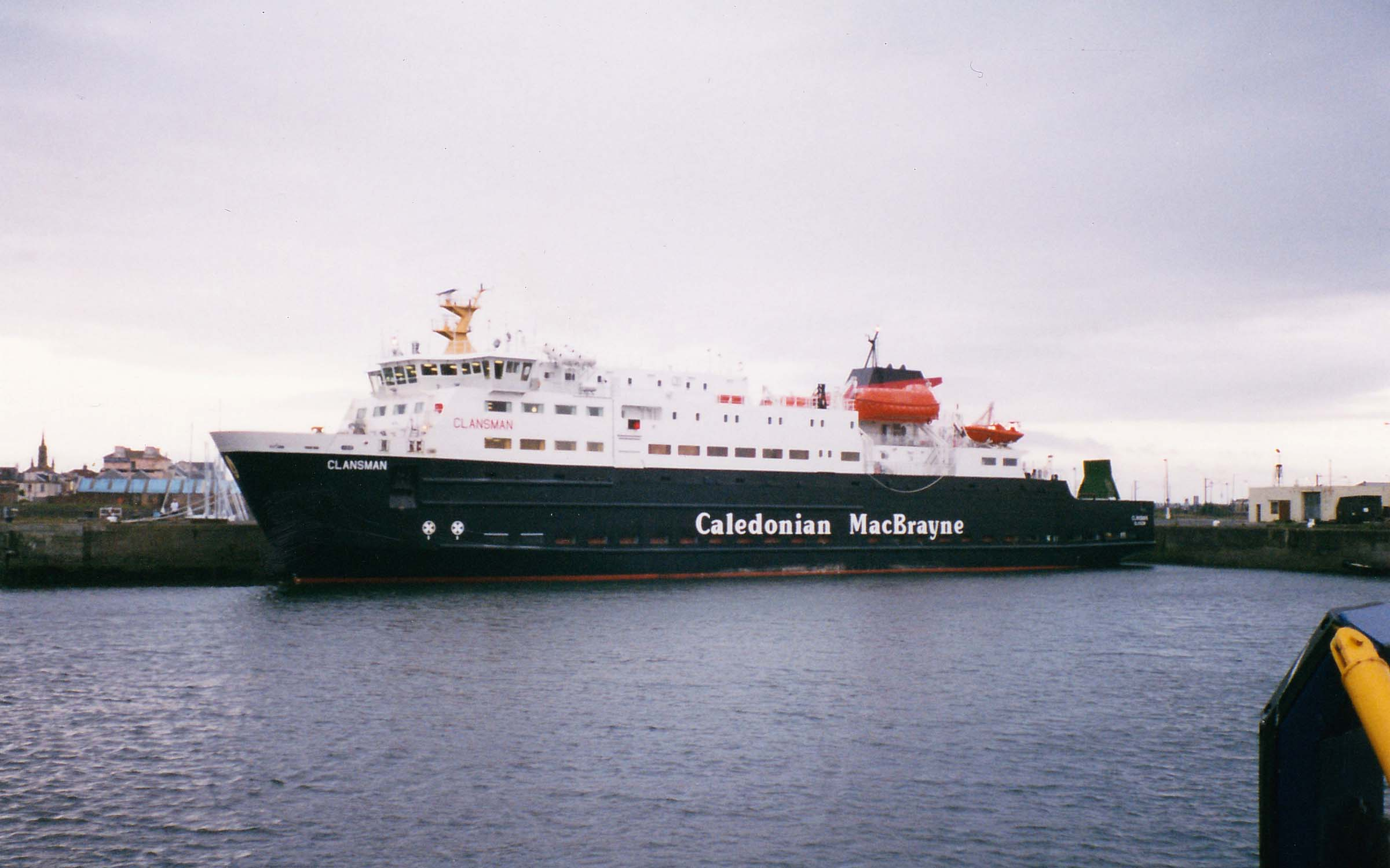 Clansman's first visit to Ardrossan in 1998 (Ships of CalMac)