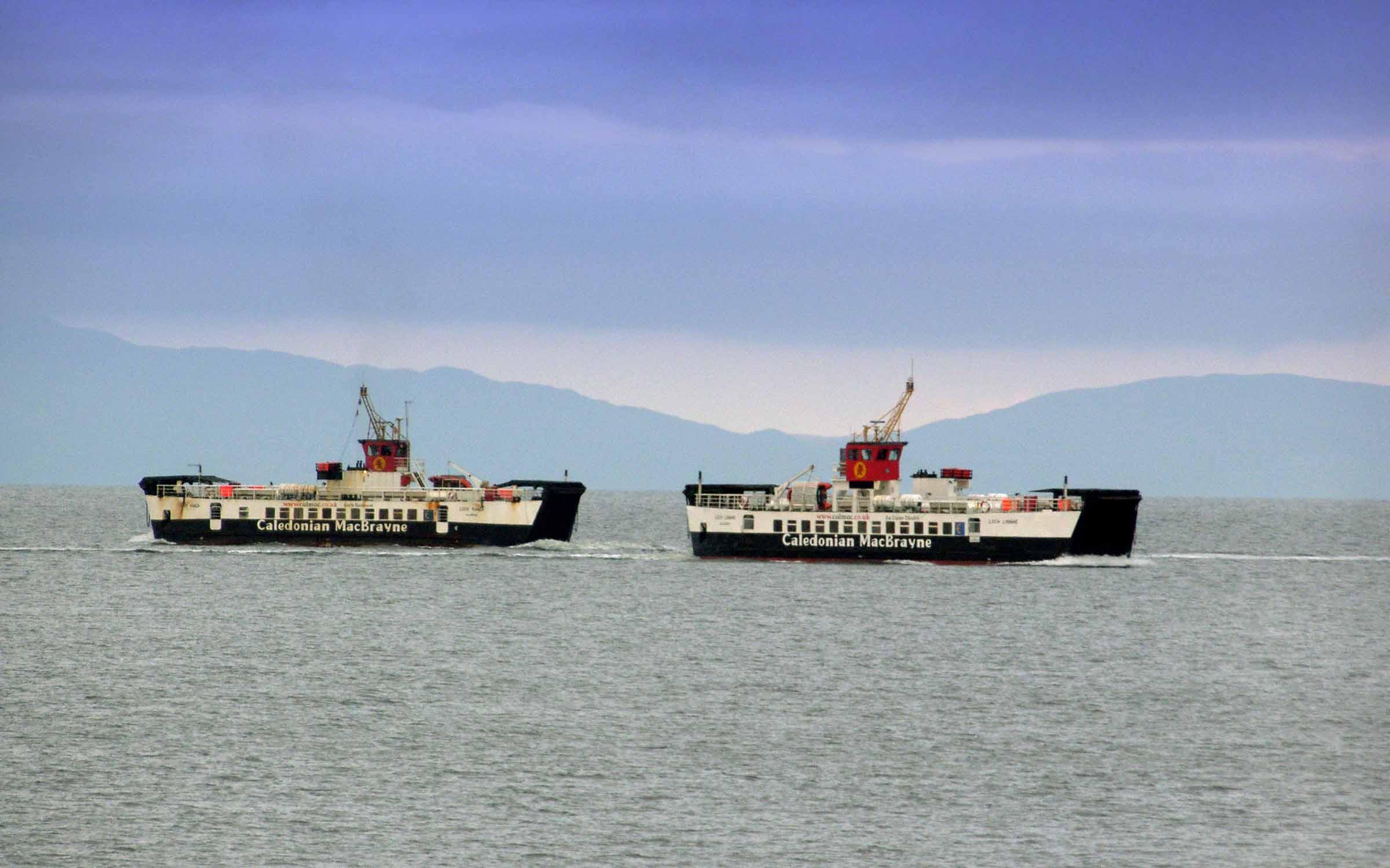 Loch Ranza passing Loch Linnhe while on a diversion to Kennacraig (Ships of CalMac)