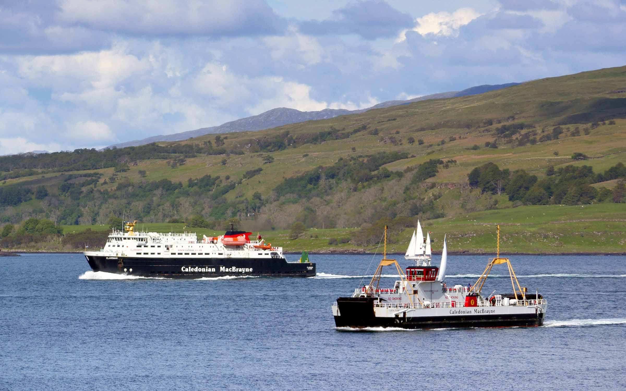 Loch Fyne and Clansman in the Sound of Mull (Ships of CalMac)