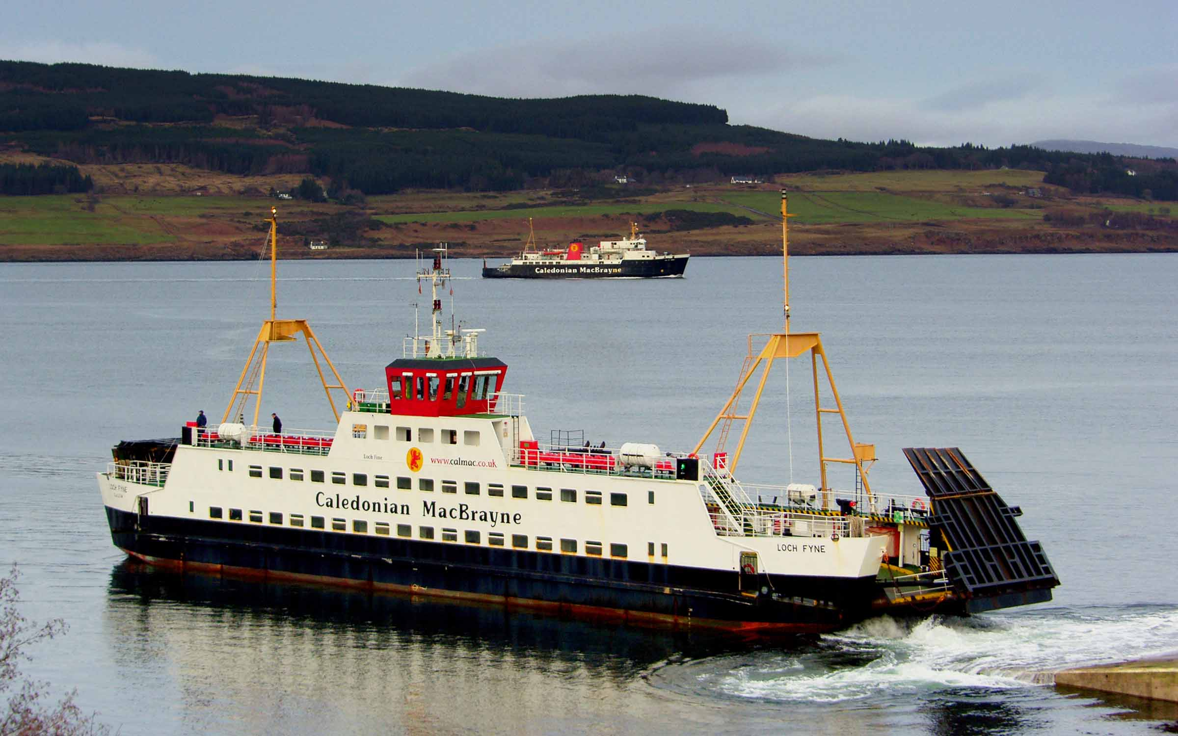 Loch Fyne leaving Fishnish as Isle of Arran passes (Ships of CalMac)