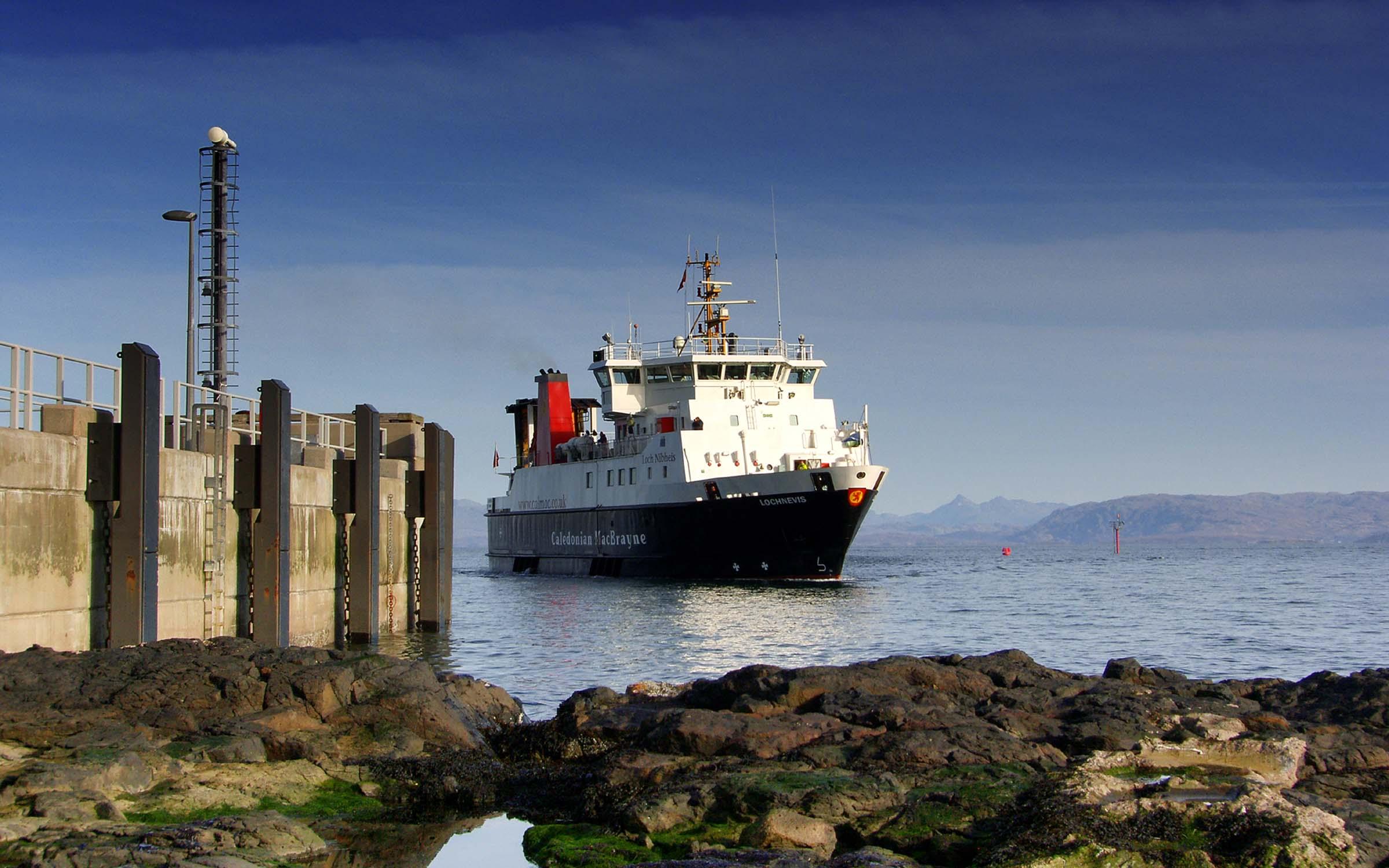 Lochnevis arriving at Eigg (Ships of CalMac)