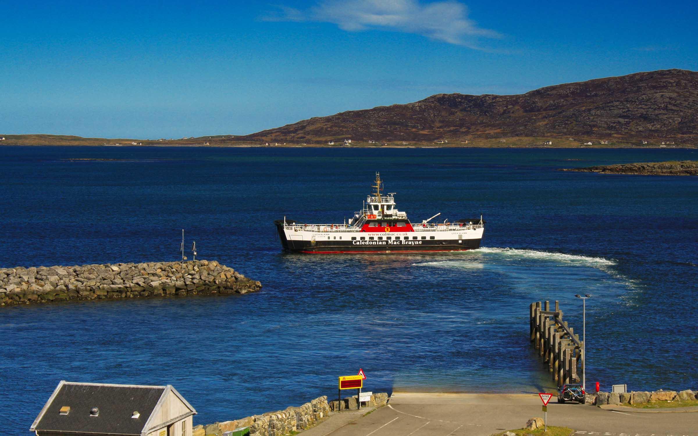 Loch Alainn leaving Eriskay (Ships of CalMac)