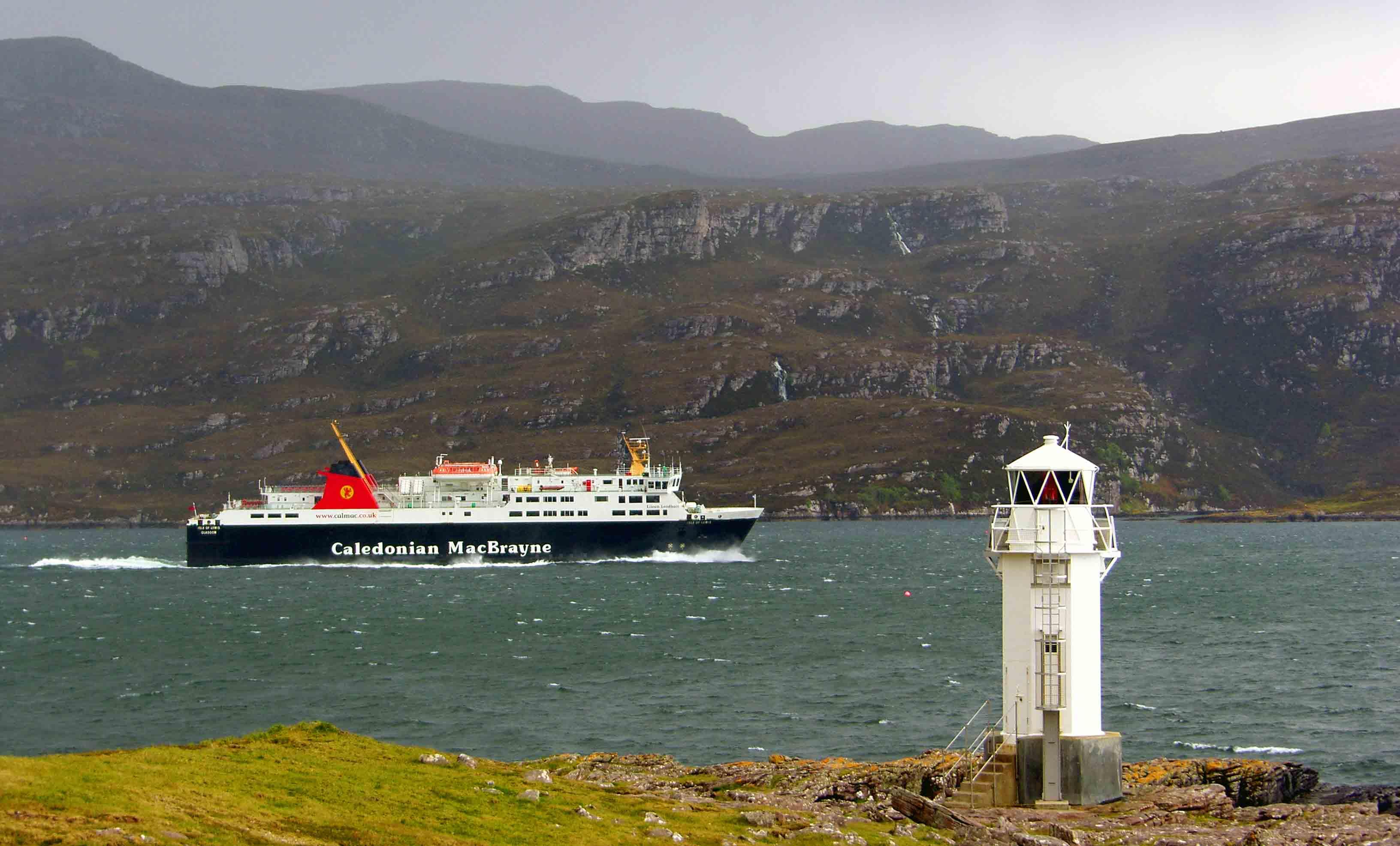 Isle of Lewis leaving Loch Broom (Ships of CalMac)