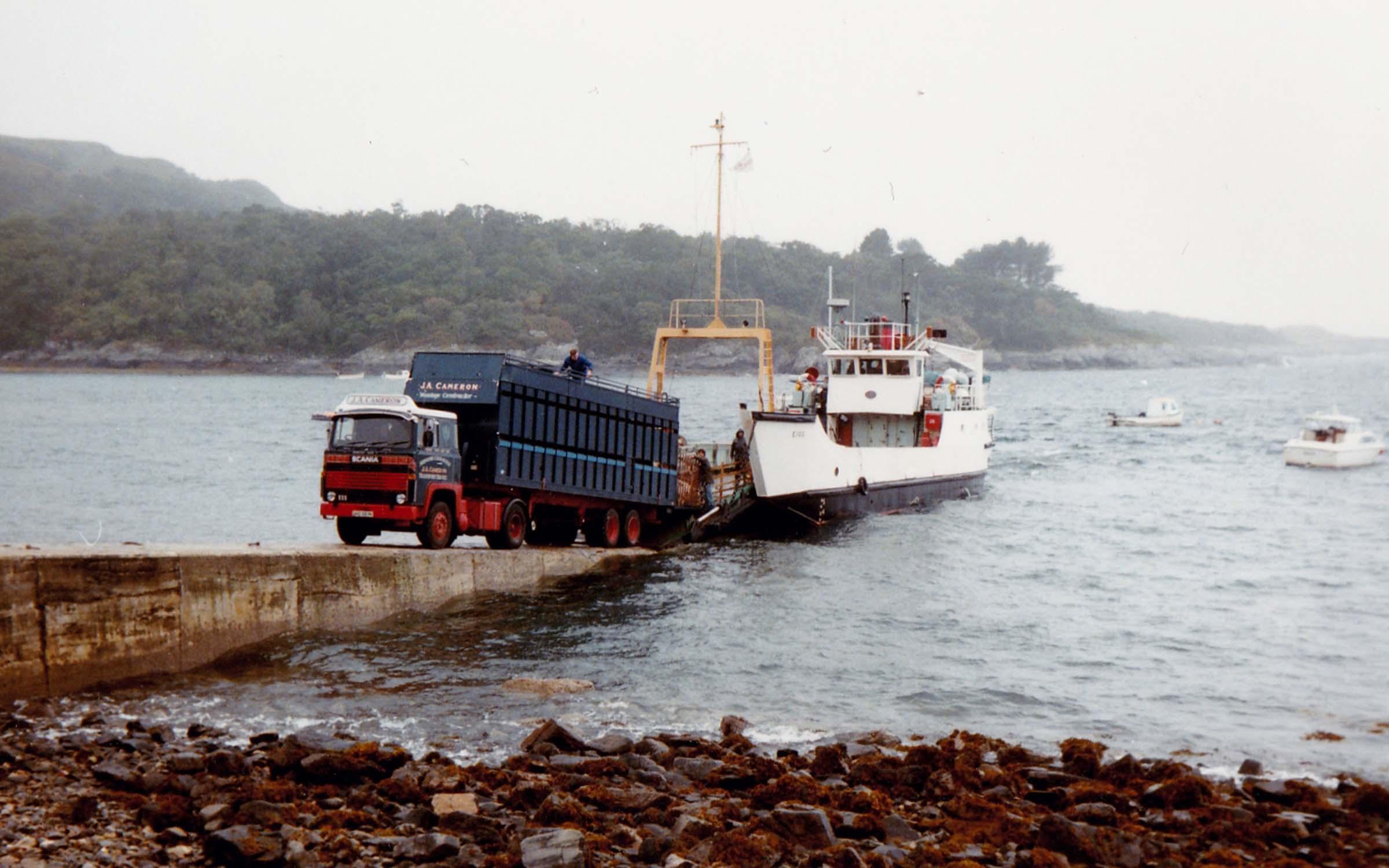 Eigg unloading sheep at Glenuig on charter (Jim Aikman Smith)