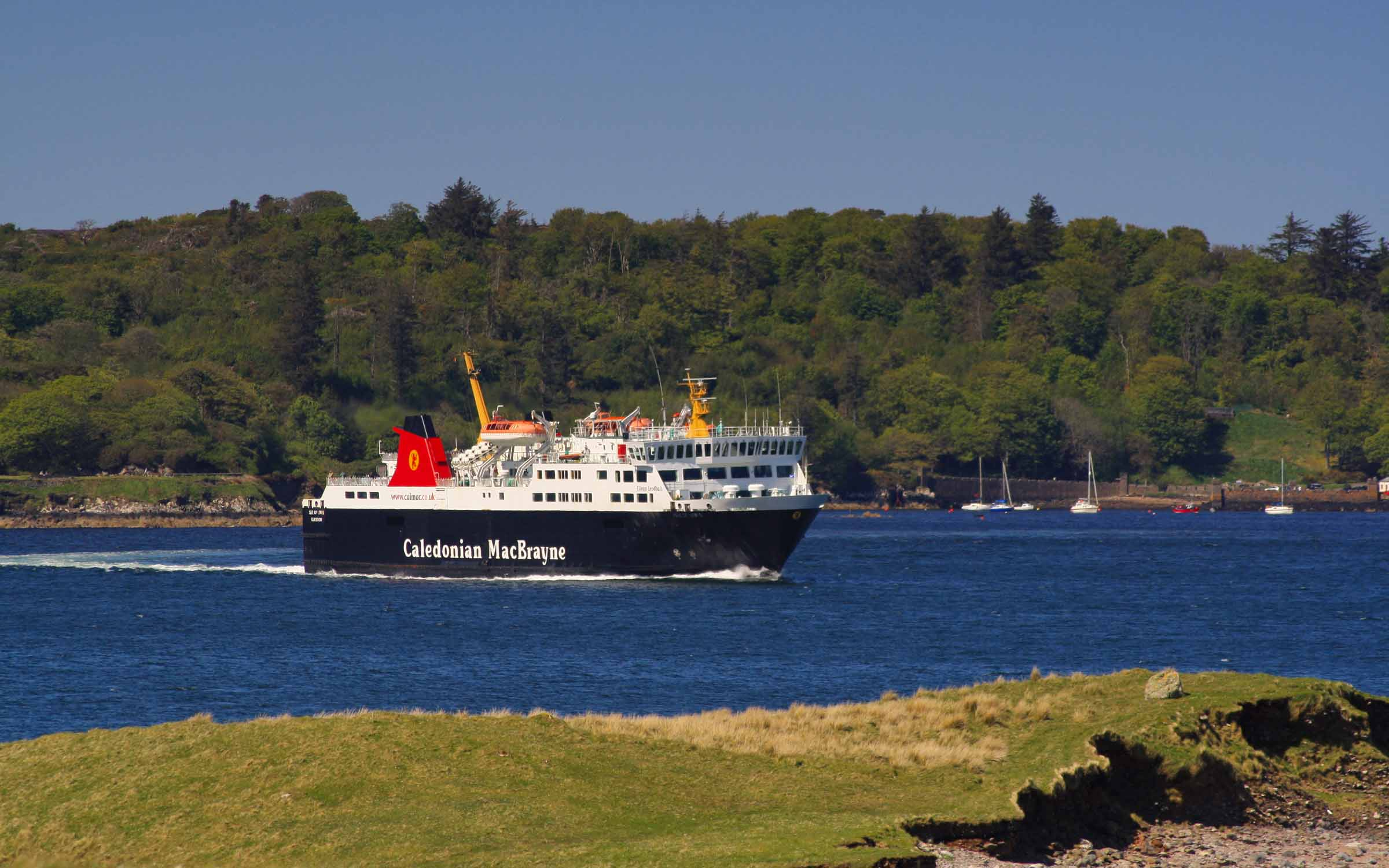 Isle of Lewis leaving Stornoway (Ships of CalMac)