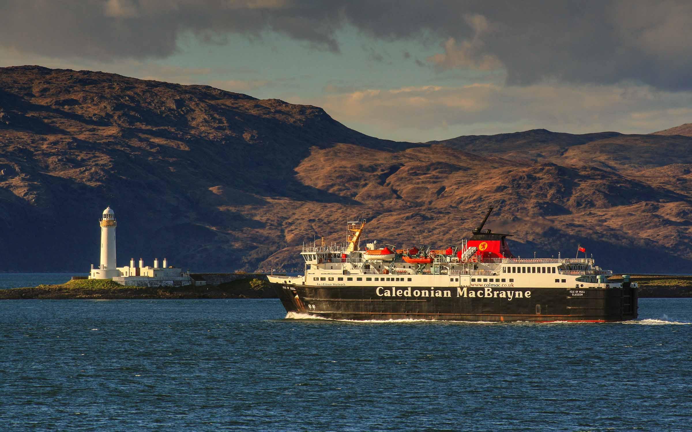 Isle of Mull passing Lismore Lighthouse (Ships of CalMac)