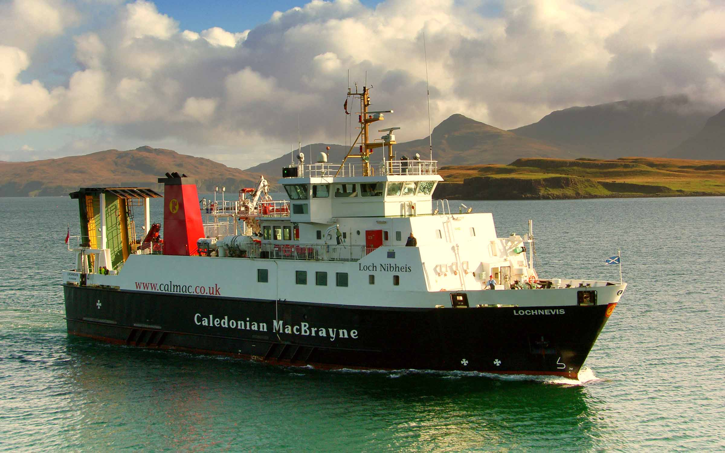 Lochnevis arriving at Canna (Ships of CalMac)