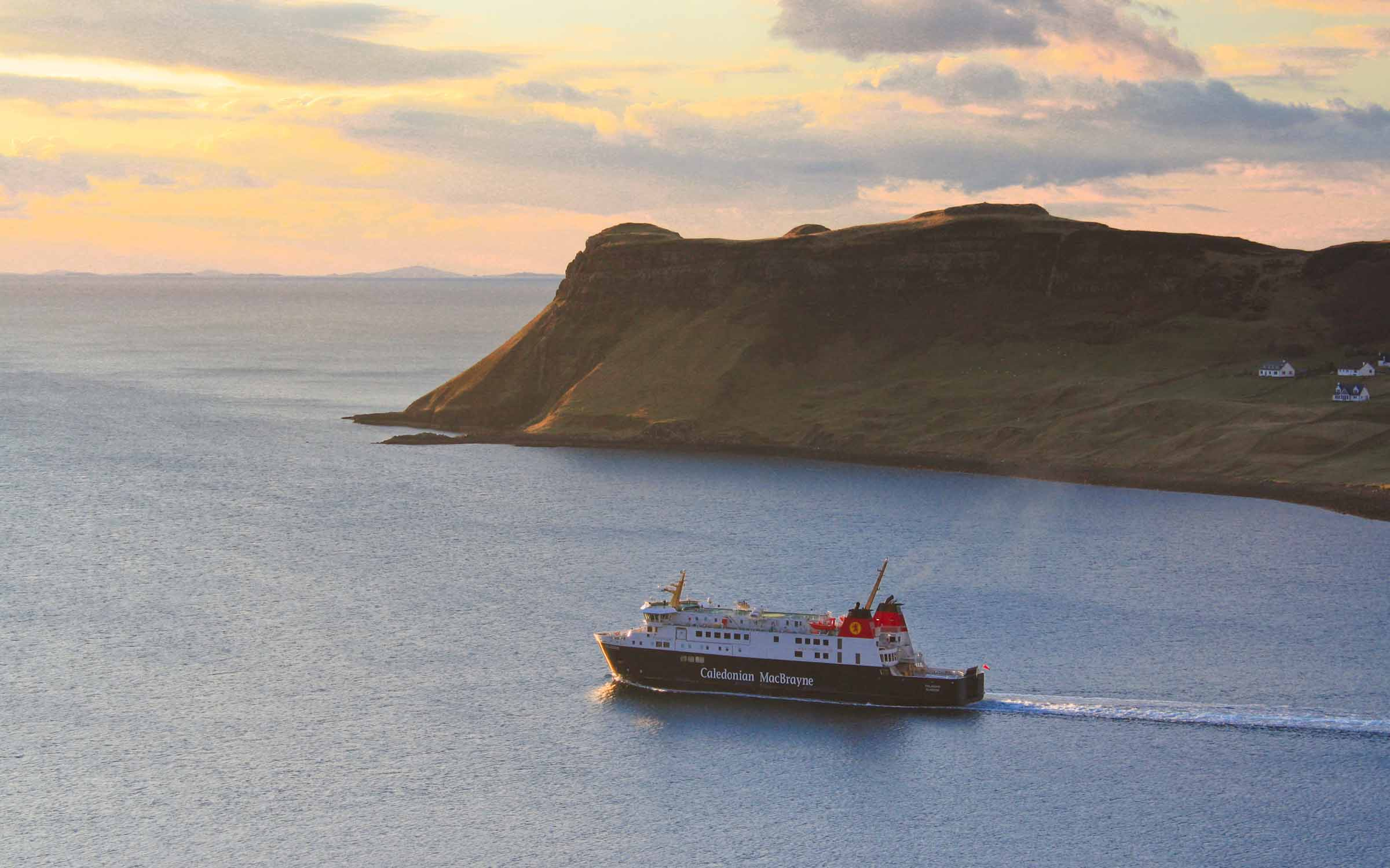 Finlaggan leaving Uig on relief service (Ships of CalMac)