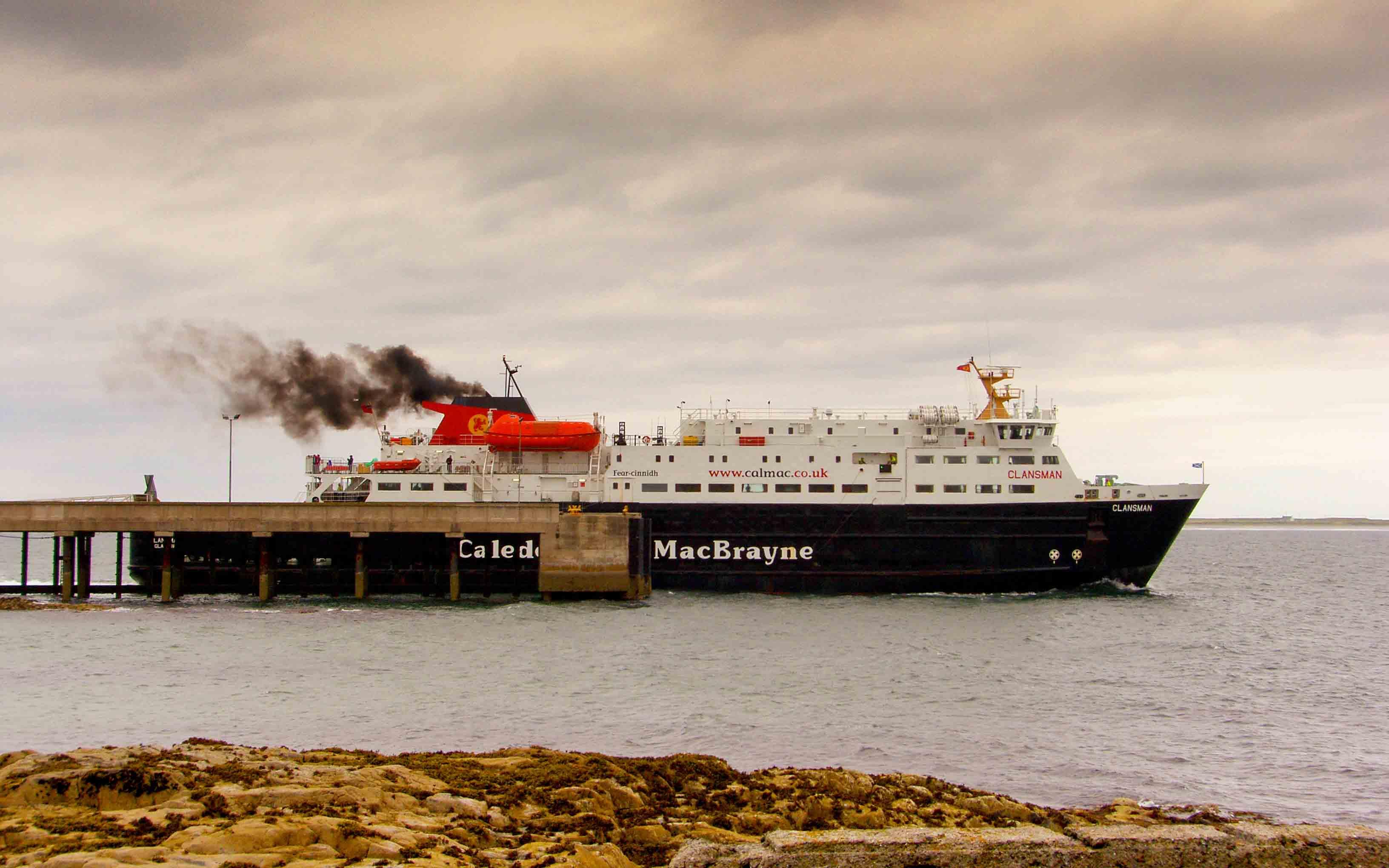 Clansman leaving Tiree for Barra (Ships of CalMac)