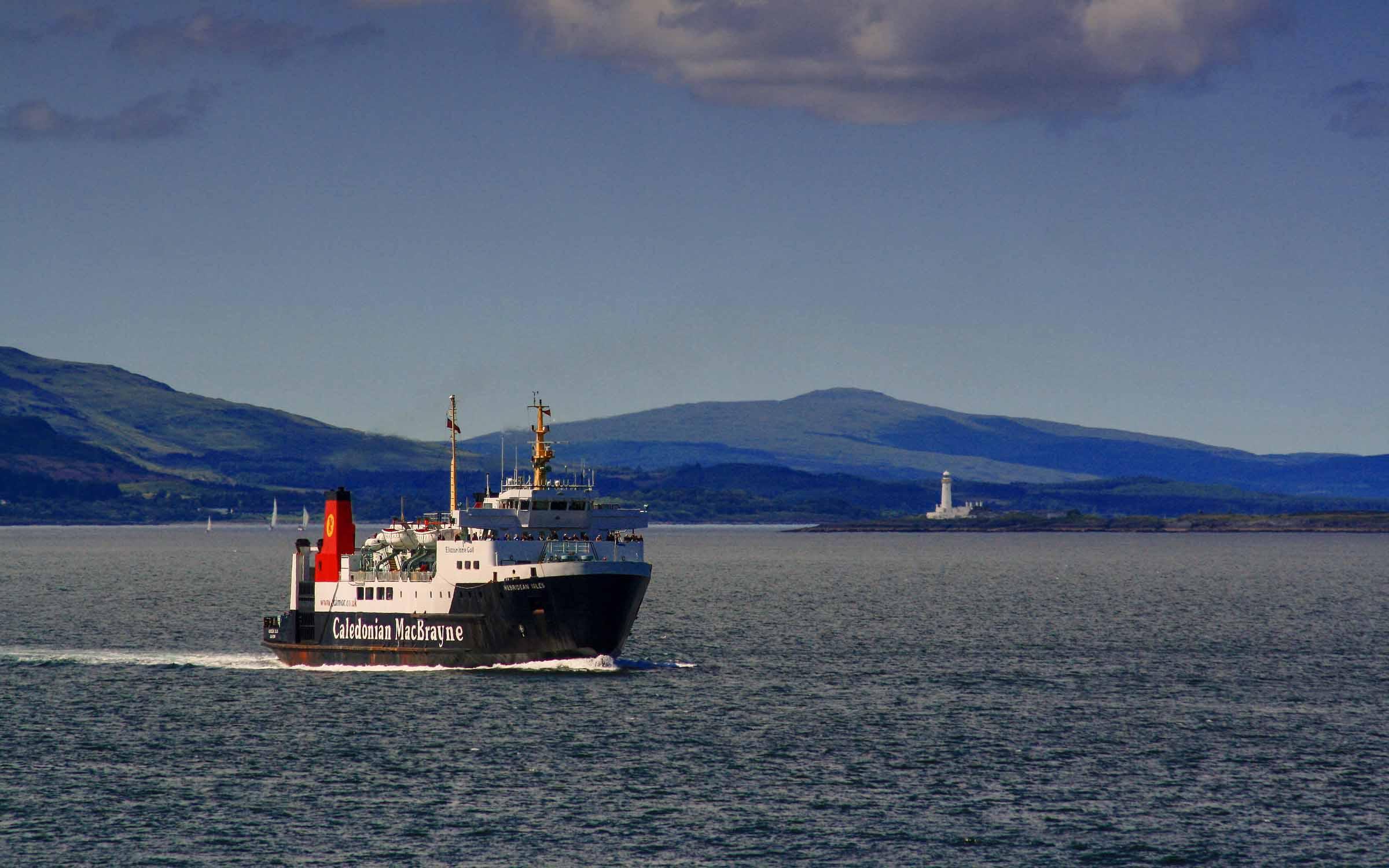 Hebridean Isles approaching Oban (Ships of CalMac)